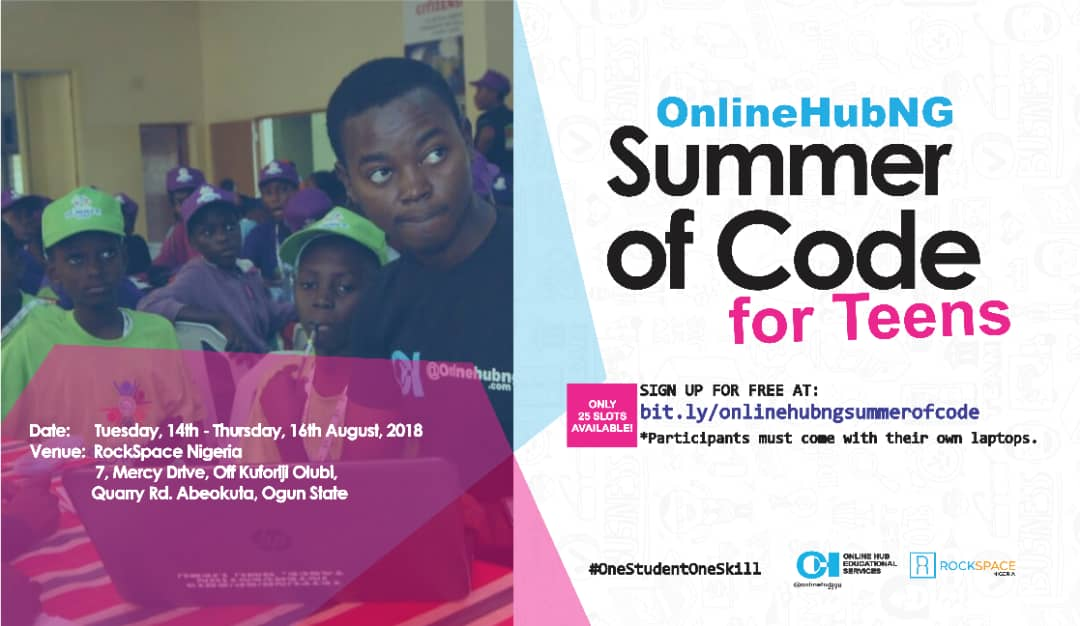 Apply – OnlineHubNG Summer of Code Program 2018 for Teens in Abeokuta